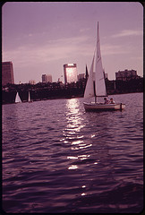 Member of the Charles River Basin Community Sailing Club Enjoy an Evening Sail. for a Dollar a Year, Youngsters Up to Age 17 Can Join the Club and Learn to Handle a Boat 08/1973