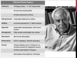Details for the UCI Richard Rorty Papers, from Michelle Light's presentation