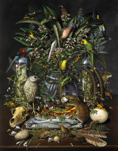 """""""The sixty-three species depicted in Gone have all become extinct since the 1700s and the colonization of the New World."""" http://isabellakirkland.com/paintings/taxa-gone.html"""