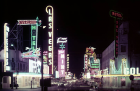 Film transparency of Fremont Street looking East down from the train depot (Las Vegas), circa 1959, University of Nevada, Las Vegas Libraries