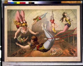 [Female acrobats on trapezes at circus | Library of Congress ]