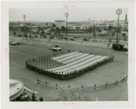 Boy Scouts - With giant American flag. From The New York Public Library,