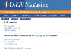 D-Lib cover of KSS linked data article for blog 2016-07